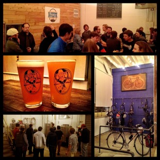 Look at that indoor bike parking! Image from preview night w/ Flying Bike. From the Peddler's Brewing Facebook