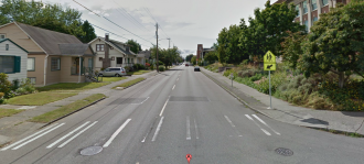 The crosswalk, located at 18th Ave NW and NW 65th St, via Google Street View