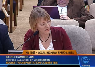 The Bicycle Alliance's Barb Chamberlain testifies in favor of the bill in January